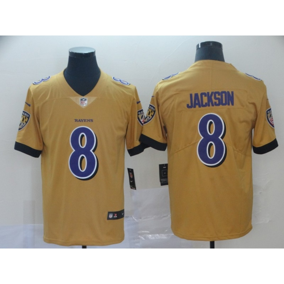 best website e925d 959f1 Nike Ravens 8 Lamar Jackson Gold Inverted Legend Men Jersey