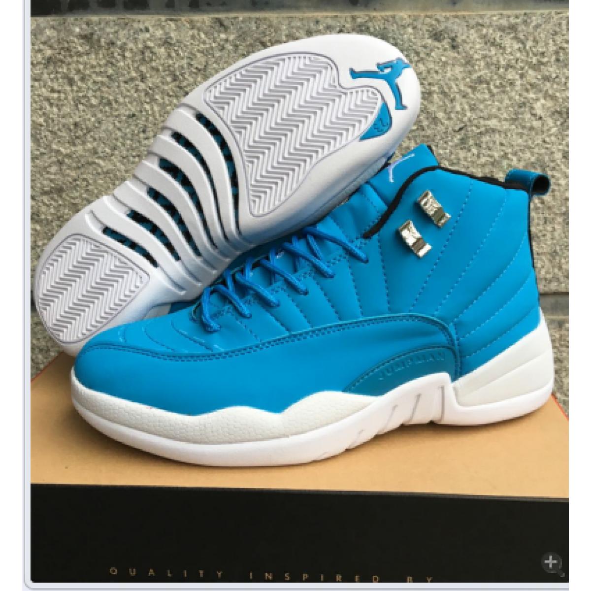low priced a8772 ae59e Air Jordan 12 White Light Blue Men Women Shoes