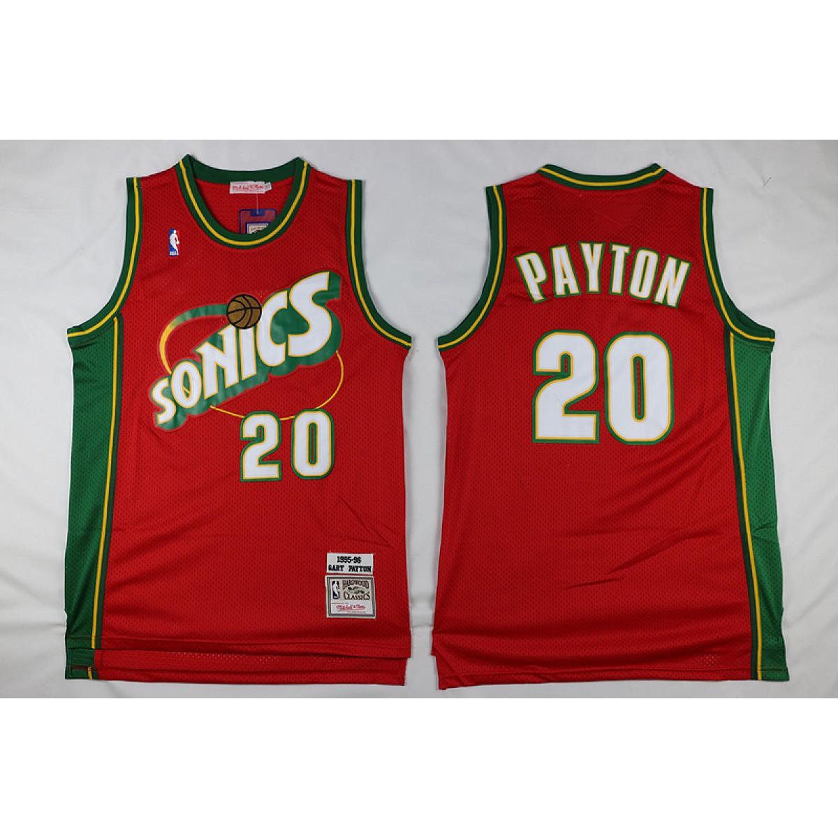 best service 37c6e d0a58 NBA Supersonics 20 Gary Payton Red Men Jersey