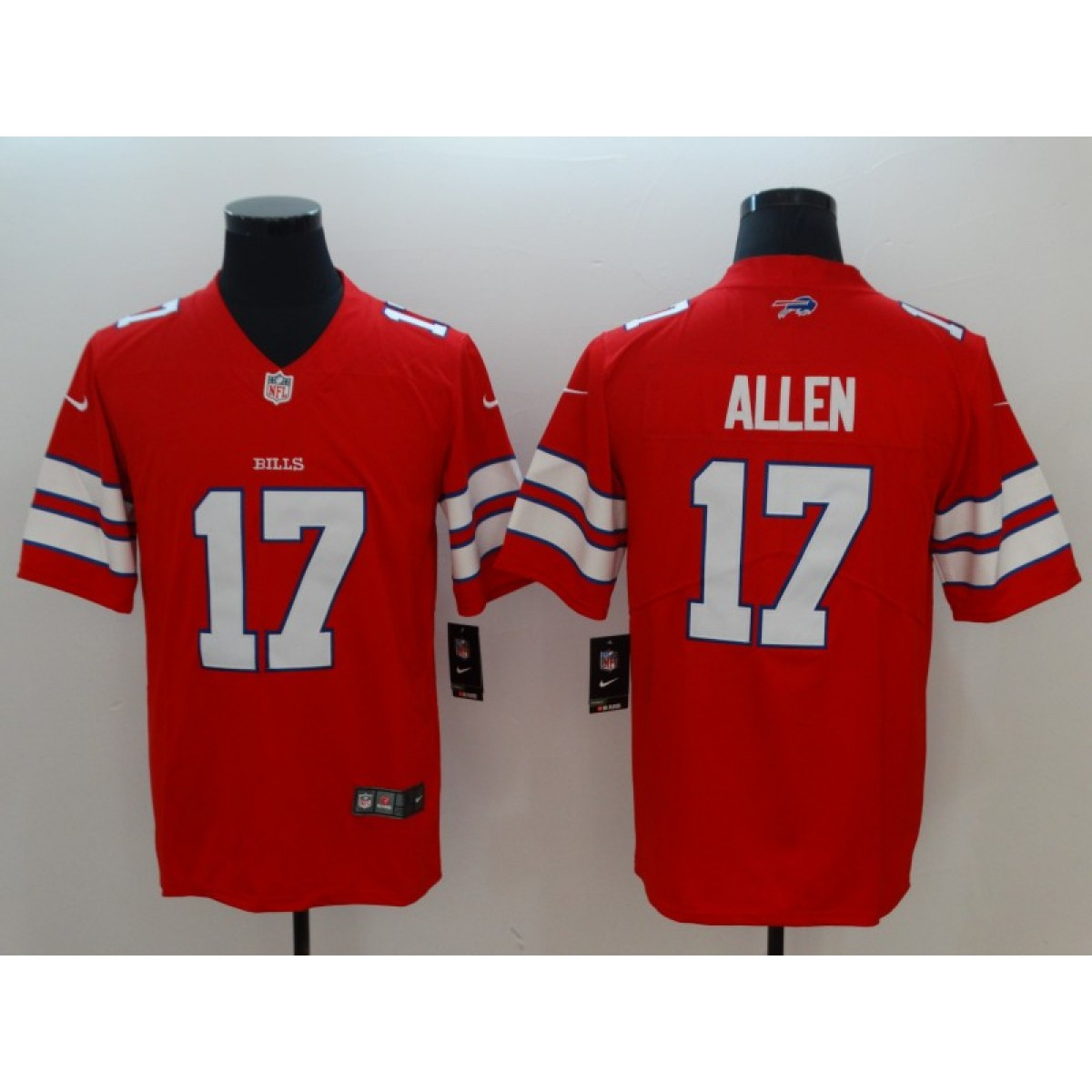 sale retailer f369d 46471 NFL Buffalo Bills 17 Josh Allen Nike Red Color Rush Limited Men Jersey