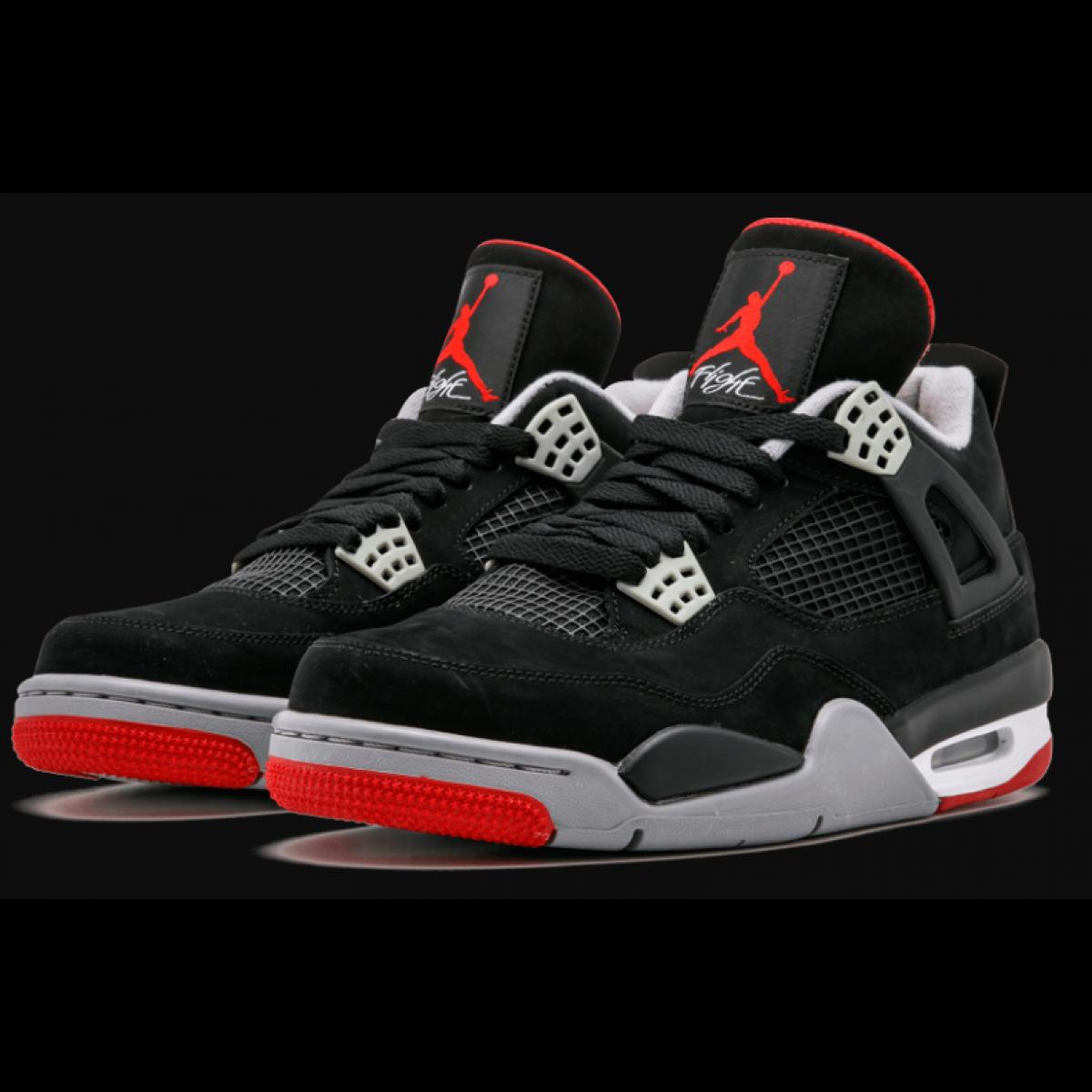 """2d54a287b2b Air Jordan 4 """"Bred"""" Black Gray Red Shoes"""