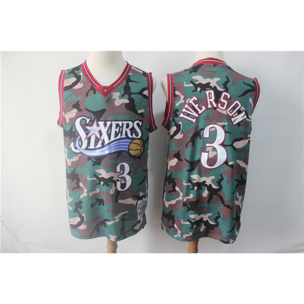 best service 6e18f 5b7ed NBA 76ers 3 Allen Iverson Camo Hardwood Classics Men Jersey