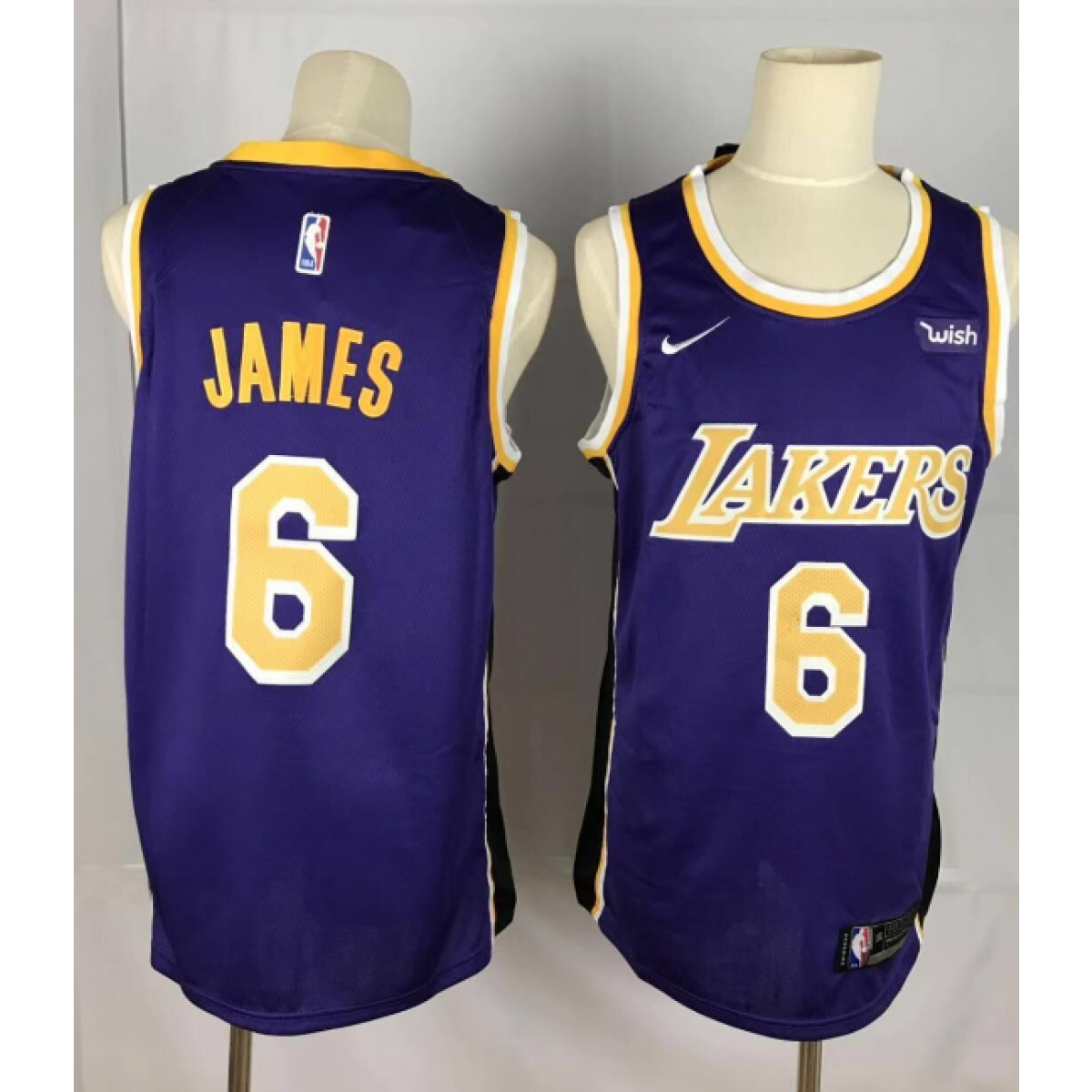 pretty nice c731a df898 NBA Lakers 6 LeBron James Purple Nike Men Jersey With wish Logo