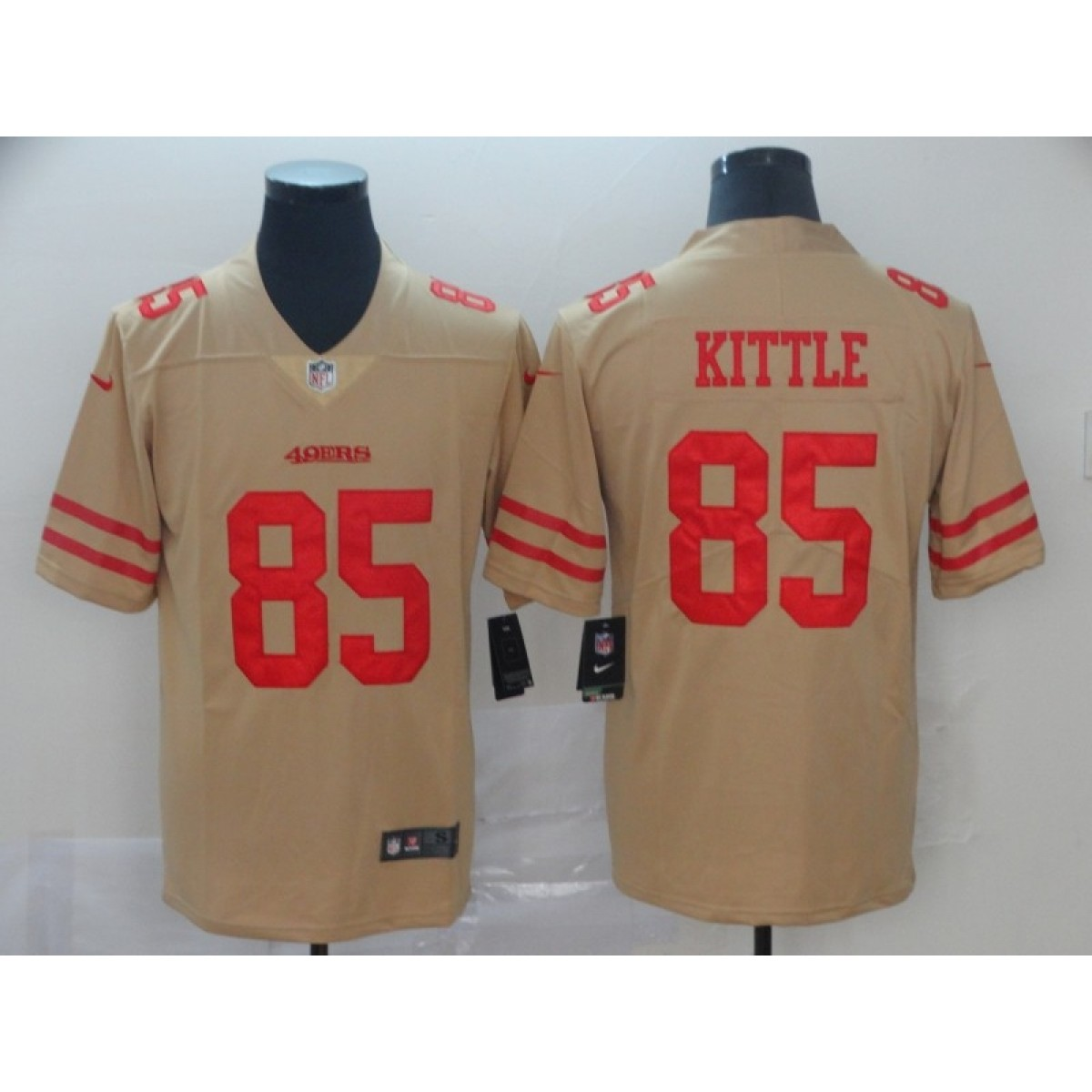 separation shoes 2c432 ab835 Nike 49ers 85 George Kittle Gold Inverted Legend Men Jersey