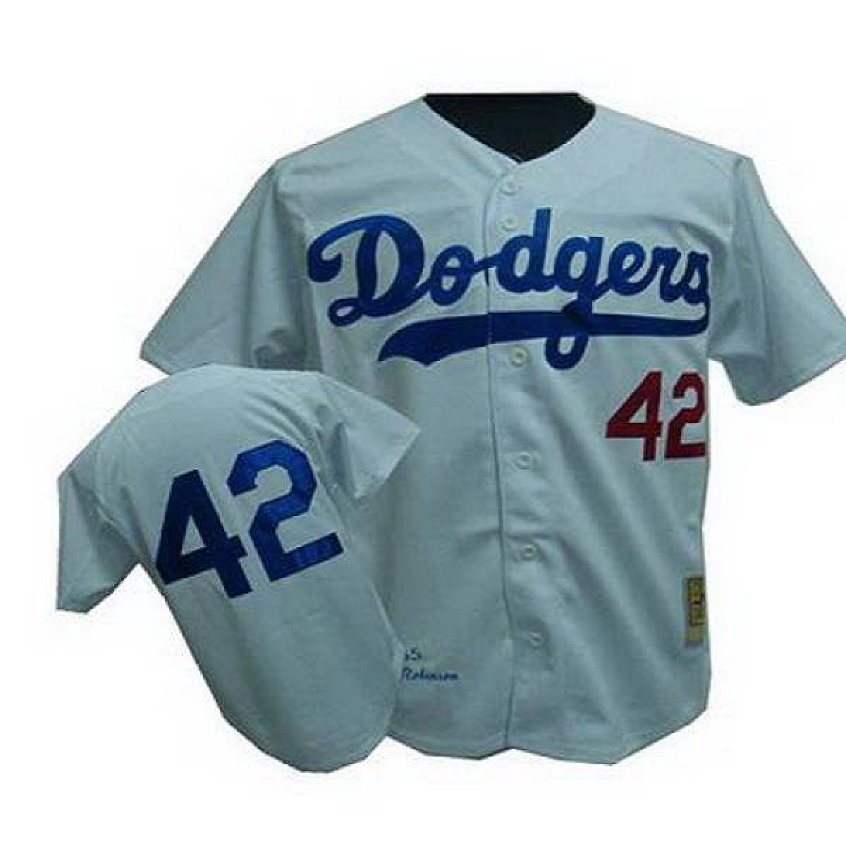 reputable site 53e38 dedbf MLB Dodgers 42 Jackie Robinson White Throwback Mitchell And Ness Men Jersey