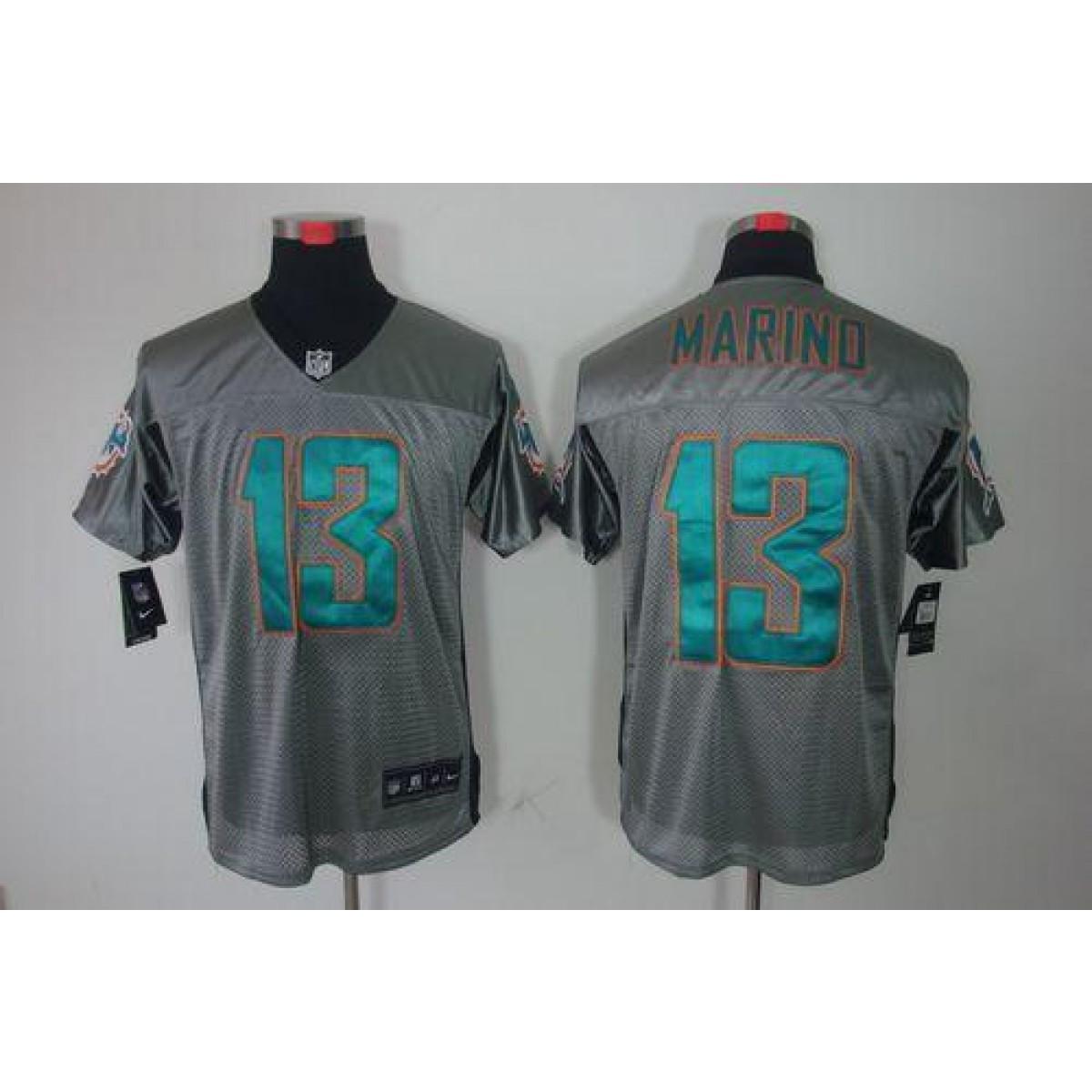 buy popular 045fb 68604 Nike Miami Dolphins No.13 Dan Marino Grey Shadow Elite Jersey