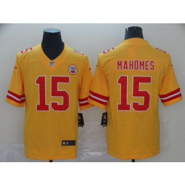 Nike Chiefs 15 Patrick Mahomes Gold Inverted Legend Men Jersey