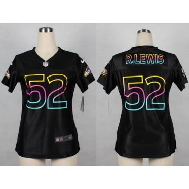 f20ee861 Baltimore Ravens No.52 Ray Lewis Black Fashion Women's Game Football Jersey