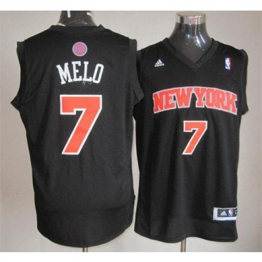 quality design 47316 53bba NBA Knicks 7 Carmelo Anthony Black Melo Fashion Men Jersey