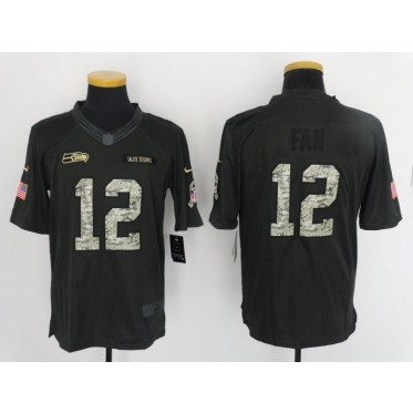 Nike NFL Seahawks 12 Fan Anthracite 2016 Salute to Service Limited Jersey