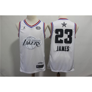 NBA Lakers 23 LeBron James 2019 All-Star White Swingman Men Jersey