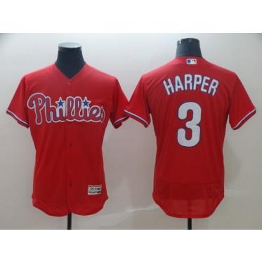 MLB Phillies 3 Bryce Harper Red Flex Base Men Jersey