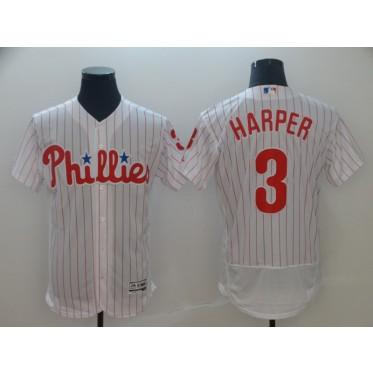 MLB Phillies 3 Bryce Harper White Flex Base Men Jersey