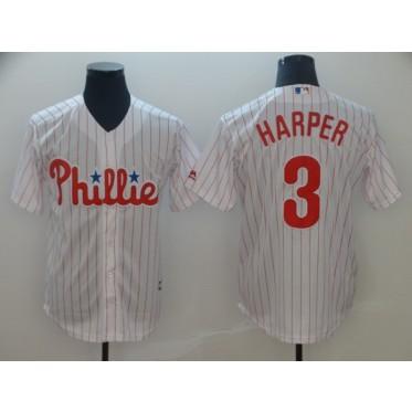 MLB Phillies 3 Bryce Harper White Cool Base Men Jersey