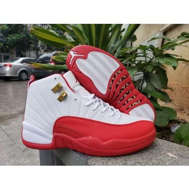 Air Jordan Retro 12 White Red Shoes