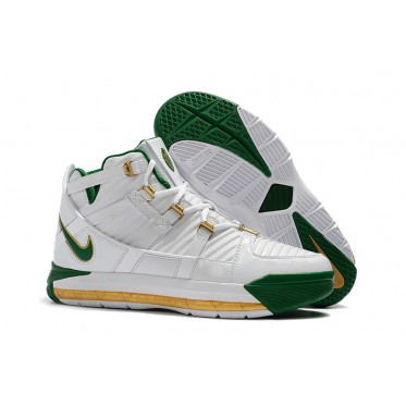 """16017d9106dd Nike LeBron 3 QS """"SVSM Home"""" White  Deep Forest-Gold Dust Shoes"""
