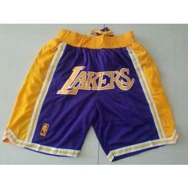 NBA Lakers Purple Throwback Mesh Shorts