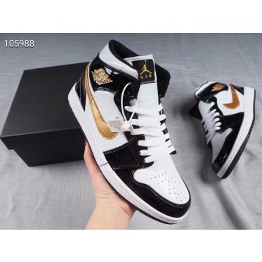 Air Jordan 1 Mid Black Metallic Gold Patent Shoes