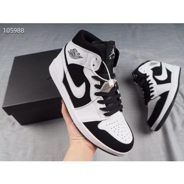 "Air Jordan 1 Mid ""Tuxedo"" White/Black Shoes"