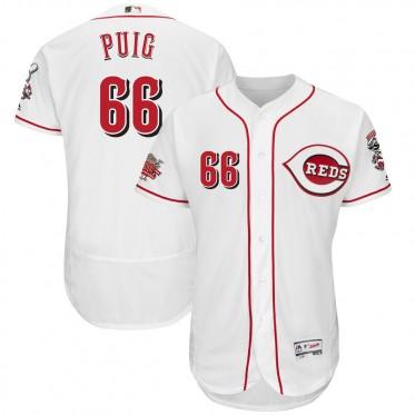 MLB Reds 66 Yasiel Puig White 150th Anniversary FlexBase Men Jersey