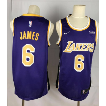 NBA Lakers 6 LeBron James Purple Nike Men Jersey With wish Logo