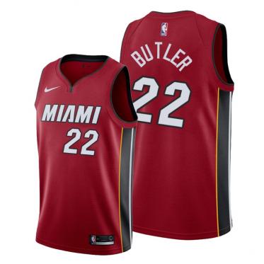 NBA Heat 22 Jimmy Butler Red Nike Men Jersey