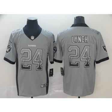 Nike Raiders 24 Marshawn Lynch Gray Drift Fashion Limited Men Jersey