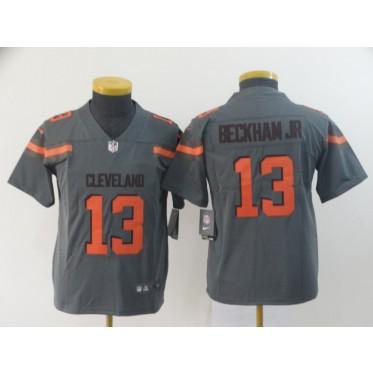 best value 48a1f 91dfe Nike Browns 13 Odell Beckham Jr. Grey Inverted Legend Youth Jersey