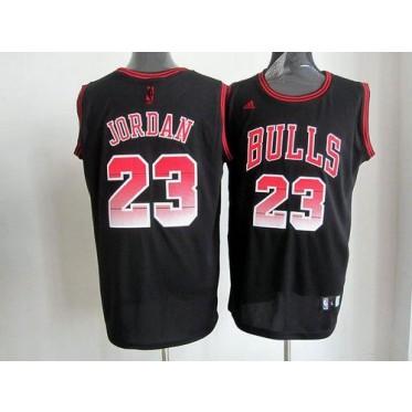 NBA Bulls 23 Michael Jordan Black VibeMen Jersey