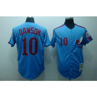 wholesale dealer 2a194 f8684 MLB Expos 10 Andre Dawson Blue Throwback Mitchell And Ness Men Jersey