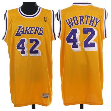finest selection af55f a2137 NBA Lakers 42 James Worthy Yellow Throwback Mitchell And Ness Men Jersey