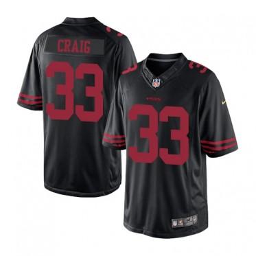 timeless design 3c9fe d8b6a Nike 49ers 33 Roger Craig Alternate Black NFL Limited Jersey