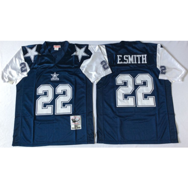 hot sale online 299e0 30f1b Mitchell and Ness Dallas Cowboys #22 Emmitt Smith (E.Smith) Throwback Navy  Blue Jersey
