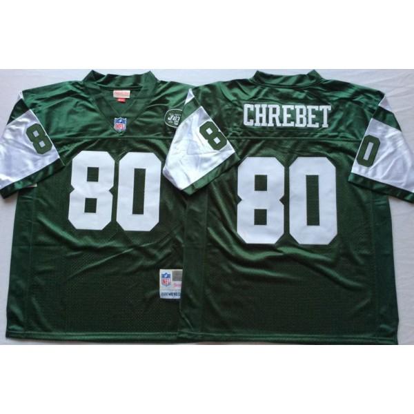 online store f6ff1 841a1 NFL Jets 80 Wayne Chrebet Green M&N Throwback Men Jersey