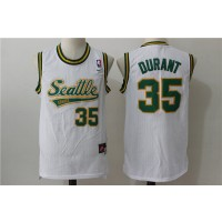 NBA Supersonics 35 Kevin Durant White Throwback Men Jersey