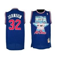 NBA Lakers 32 Magic Johnson Blue 1992 All Star Throwback Men Jersey