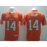 BC Lions No.14 Travis Lulay Orange Men's Football Jersey