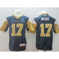 Winnipeg Blue Bombers No.17 Moore Blue Men's Football Jersey