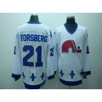 NHL Nordiques 21 Peter Forsberg CCM Throwback white Men Jersey