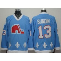 NHL Nordiques 13 Mats Sundin Light Blue CCM Throwback Men Jersey
