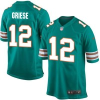 Nike Dolphins 12 Bob Griese Aqua Green Alternate Youth Stitched NFL Elite Jersey