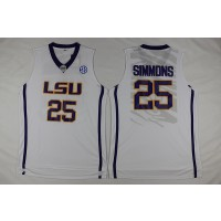 NCAA LSU Tigers 25 Ben Simmons White Basketball Men Jersey
