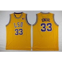 NCAA LSU Tigers 33 Shaquille O'Neal Gold Basketball Men Jersey