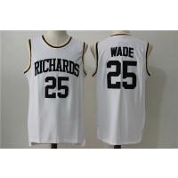High School Richardson 25 Dwyane Wade White Basketball Men Jersey