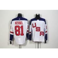 Hockey Team USA 81 Phil Kessel White 2016 World Cup Men Jersey