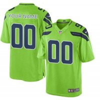Nike NFL Seahawks Green Color Rush Limited Customized Jersey