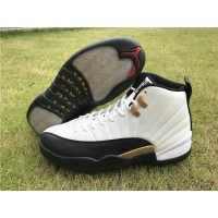 Air Jordan 12 Chinese New Year White Black Gold Shoes