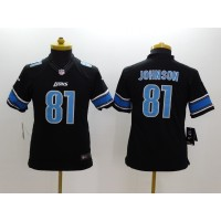 Nike NFL Lions 81 Calvin Johnson Black Youth Jersey