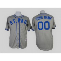 Minnesota Twins Gray 1948 St. P Men's Customized Throwback Jersey