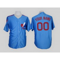 Montreal Expos Blue Men's Customized Throwback Jersey